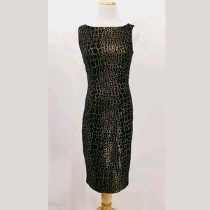 Cache Dress 2 Animal Print Sheath Black Gold